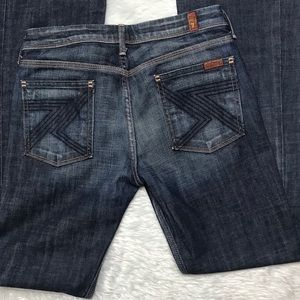 7 For All Mankind Blue Flare Denim Jeans